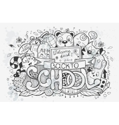 Cartoon hand drawn doodles on a school vector image