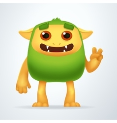 Cute cartoon green beast with victory gesture fun vector