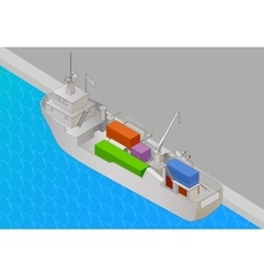 Cargo vessel isometric view flat vector