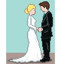 Pixel wedding background vector