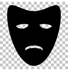 Tragedy theatrical masks flat style black icon on vector