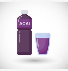 acai berries juice flat icon vector image vector image