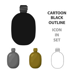 Army canteen icon in cartoon style isolated on vector