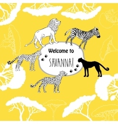 Background with savanna animals vector