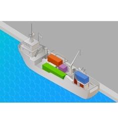 Cargo vessel isometric view flat vector