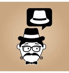 cartoon hipster hat vintage background vector image vector image