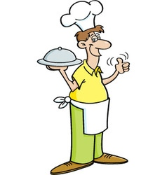 Cartoon man in a chef hat holding a platter vector image vector image