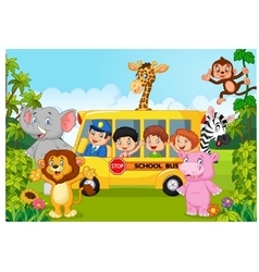 Cartoon school children on safari vector image vector image