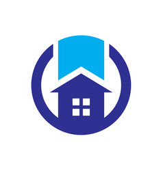 Circle home building logo vector