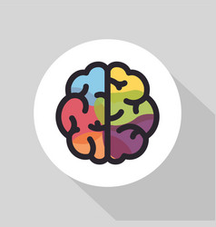 colorful brain flat line icon brainstorming vector image vector image