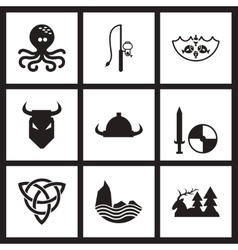 Concept flat icons in black and white celts vector
