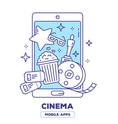 Creative of mobile phone with popcorn movie vector