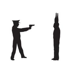 Criminal offender and police officer vector