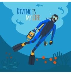 Diver underwater vector