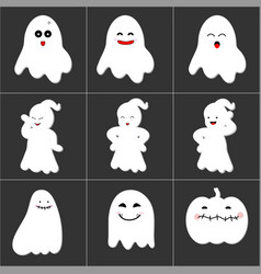 Halloween cute ghost icon set vector