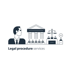 Legal court house trial services icons lawyer man vector