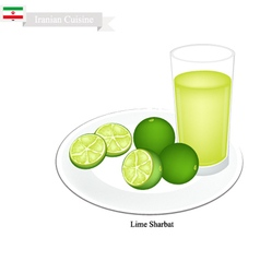 Lime sharbat or iranian drink from lime and syrup vector