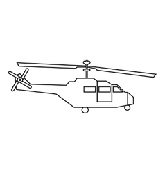 Military helicopter icon outline style vector