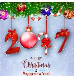 New years background with gift vector
