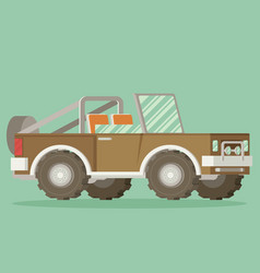 Off road car isolated on color background flat vector