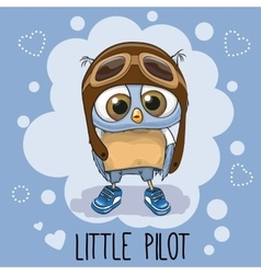 Owl in a pilot hat vector
