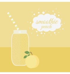 Peach smoothie in jar on a table vector