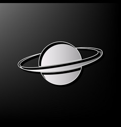Planet in space sign gray 3d printed icon vector