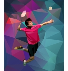 Polygonal professional badminton player on vector