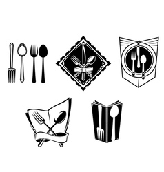 Restaurant menu icons and symbols vector image vector image