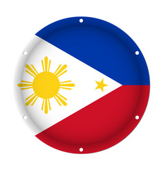 round metallic flag - philippines with screw holes vector image