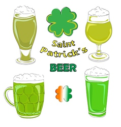 saint patrick beer pints vector image vector image