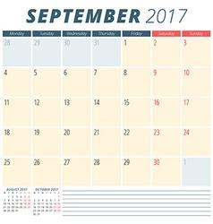September 2017 calendar planner for 2017 year week vector