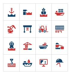 Set color icons of seaport vector