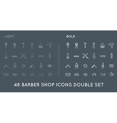 Set of thin and bold barber shop elements and vector