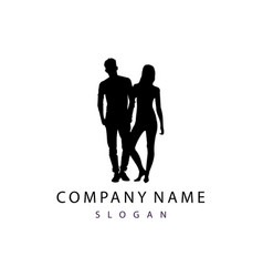 silhouette couple logo vector image