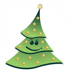 smiling Christmas tree vector image vector image