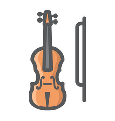 violin filled outline icon music and instrument vector image