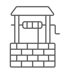 Water well thin line icon farming and agriculture vector