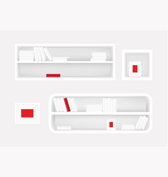 white bookshelf and photo frame books collection vector image