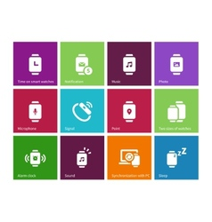 Wireless watch icons on color background vector image