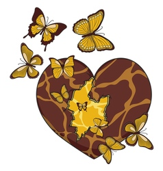 With a broken heart and butterflies vector
