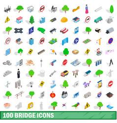 100 bridge icons set isometric 3d style vector image