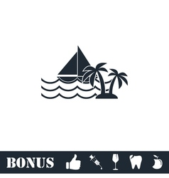 Yacht icon flat vector