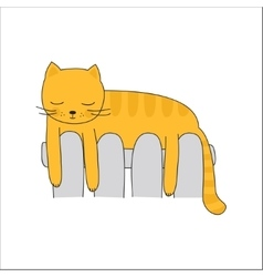 Cat on the heating radiator vector
