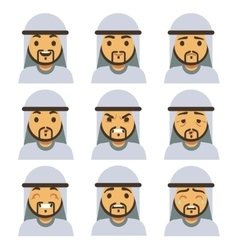 Traditional arab man emotion faces including vector