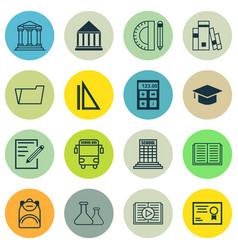 set of 16 school icons includes document case vector image
