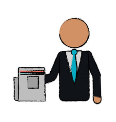 Drawing business man document work office vector