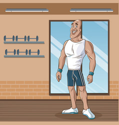 Strong man sport attitude weight vector