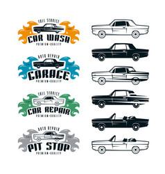 car service emblems and design elements vector image