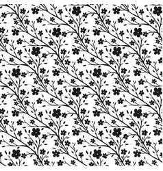 Tiny flowers pattern monochrome seamless pattern vector